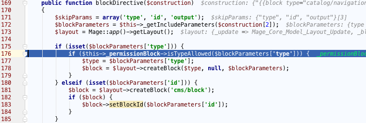 Permissions are checked using _permissionBlock
